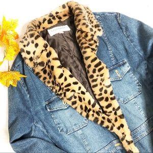 Chadwick's denim animal print jacket xl